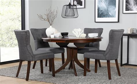 hudson  dark wood extending dining table   chairs