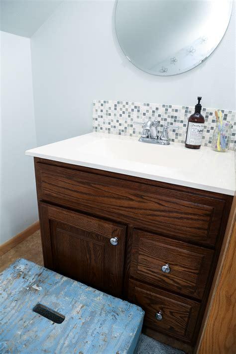 Tile Backsplash In Bathroom by Updated Bathroom Tile Backsplash Diy With Paint