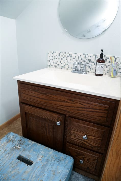 updated bathroom tile backsplash diy  paint