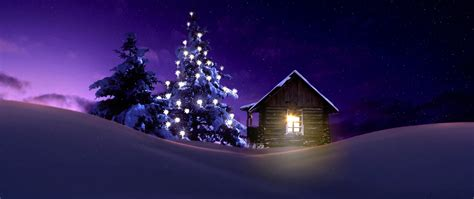 christmas lighted tree  winter cabin full hd