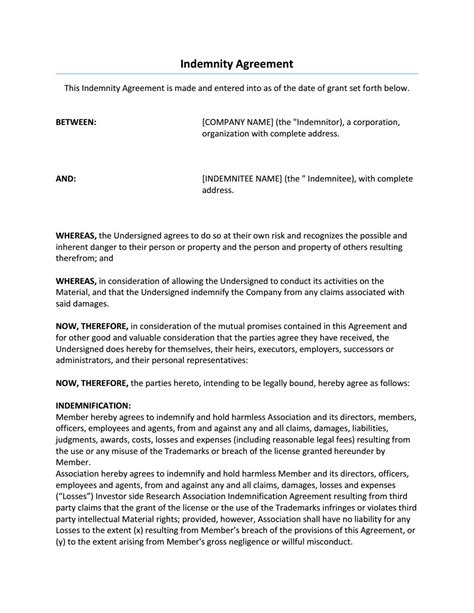 indemnity agreement sample resume template  good