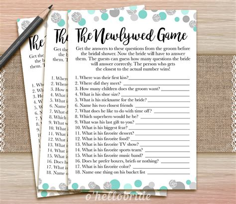 Newlywed For Bridal Shower - the newlywed printable mint bridal shower