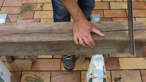 balken abschleifen werkzeug sitzbank aus holzbalken bauen diy anleitung mit wohngl 252 ck