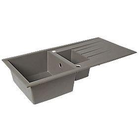 plastic kitchen sink plastic resin kitchen sink drainer grey 1 5 bowl 1540