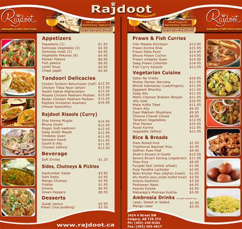 menu cuisine a look on indian restaurant rajdoot menu indian restaurants in calgary