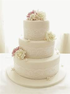 Ivory Roses And Lace Three Tier Wedding Cake - CakeCentral com