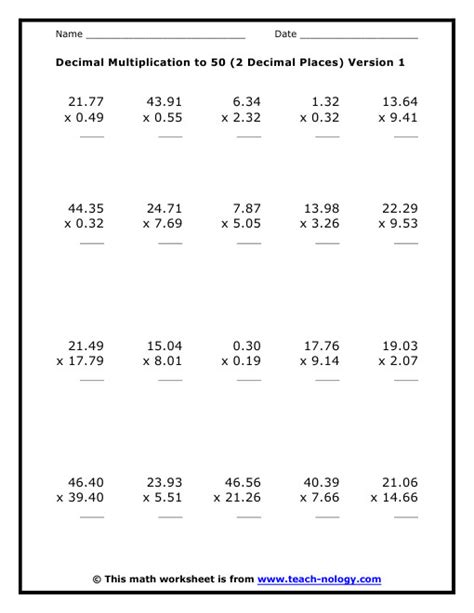 Decimal Operations Worksheet Homeschooldressagecom