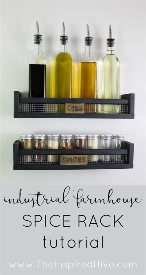diy rustic wall mounted spice rack  inspired hive