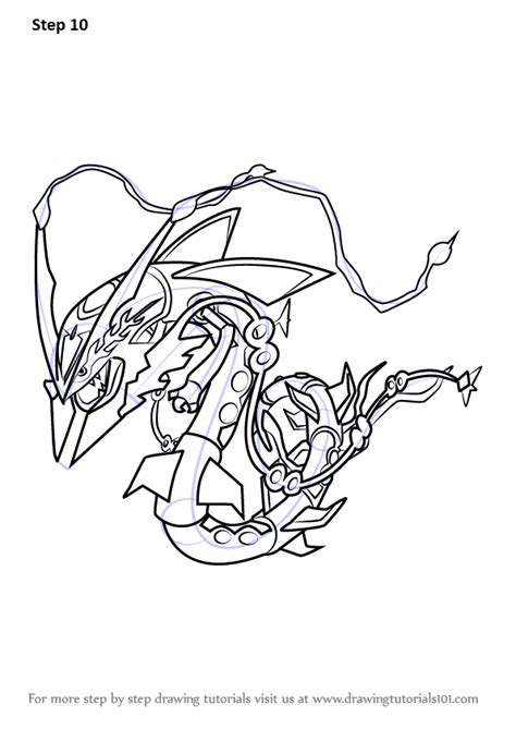 step  step   draw mega rayquaza  pokemon