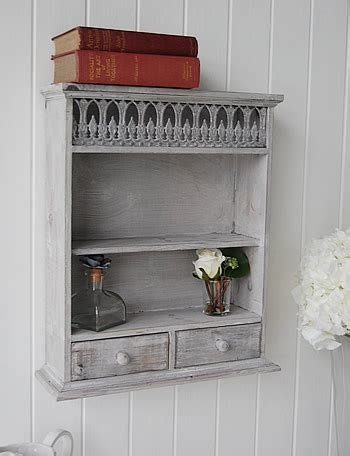 grey washed wooden shelf  drawers hall furniture