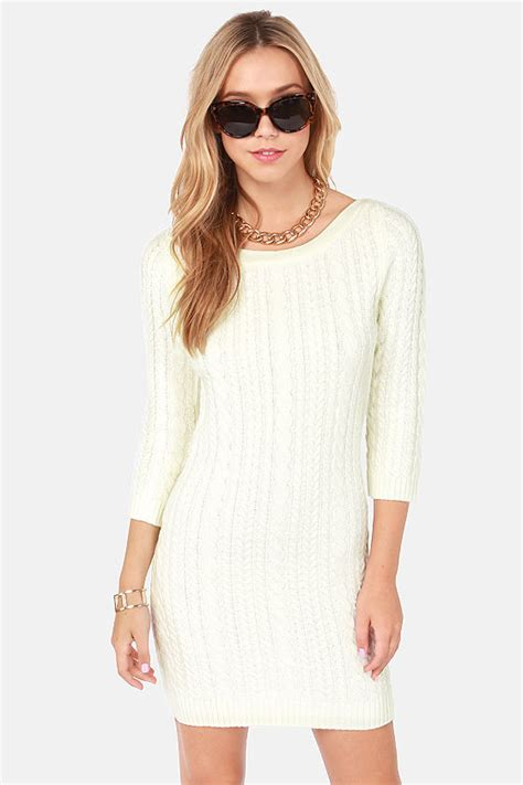 Darling Hazel Dress - Cream Dress - Sweater Dress - $81.00