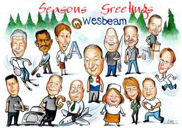custom greeting card caricatures christmas card design