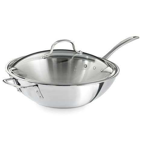 Kitchen Essentials Calphalon Stainless Steel Reviews by Review Of Calphalon Triply Stainless Steel 12 Inch Wok