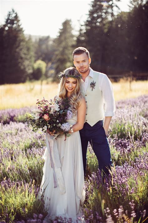 whimsical lavender field wedding shoot with macrame and wildflowers weddingomania