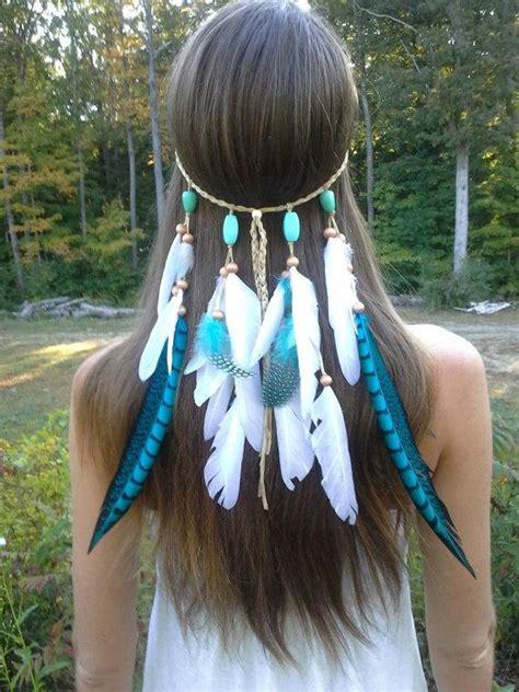 turquoise princess feather headband native american
