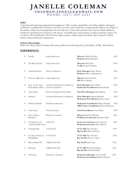 Script Supervisor Resume  Resume Ideas. Resume Engineer Sample. Format Of Accountant Resume. Sample Job Resume. Personal Assistant Resume. Barista Resume Sample. Career Resume Samples. Truck Driver Resumes. Medical Receptionist Resume Templates
