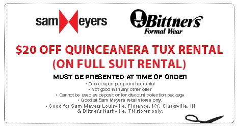 76574 Tux Coupon by Sam Meyers Free Shoe Rental Or 20 Prom Tux Rental