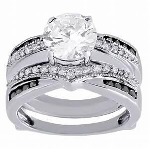 10k white gold black white diamond enhancer wrap jacket With wedding ring wraps white gold