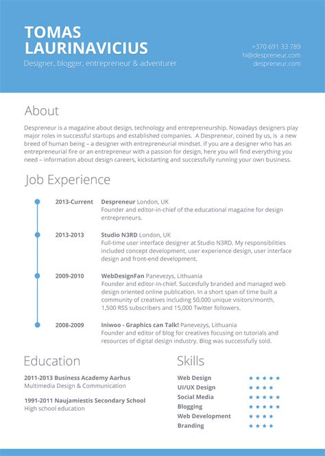 Free Resume Templates Exles by Free Minimal Resume Psd Template