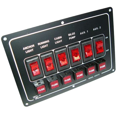 Boat Switch Panel 6 Gang by 6 Gang Horizontal Boat Sailing Switch Panel 165mm X