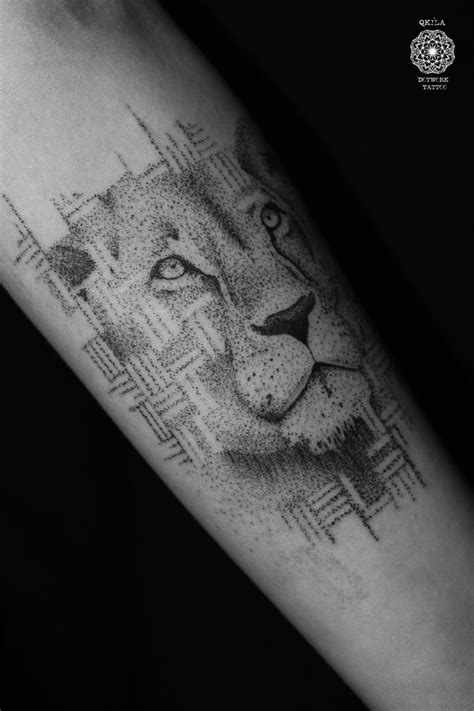 geometric lion dotwork tattoo qkila dotwork tattoo