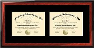 horizontal double certificate dual diploma frame single With dual document frame