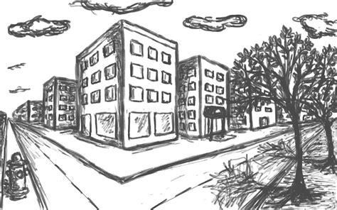 2-Point Perspective City Block
