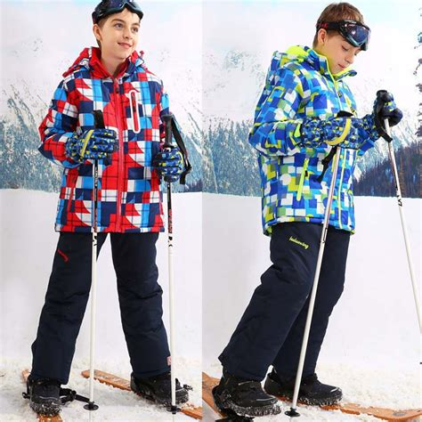 For 30 Degree Children Outerwear Warm Coat Sporty Ski Suit Kids Clothes Sets Waterproof ...