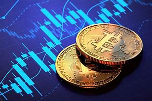 Two Bitcoins On Blue Candlestick Chart Free Image Download