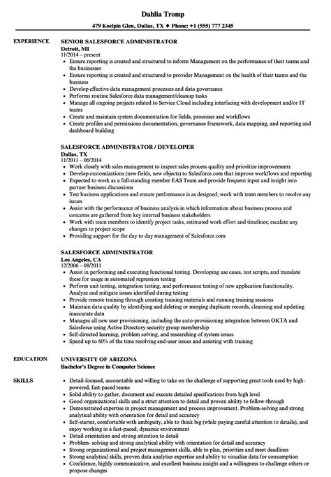 Salesforce Administrator Resume salesforce administrator resume sles velvet