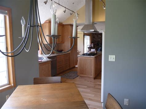 vaulted kitchen  hickory floors cherry cabinets