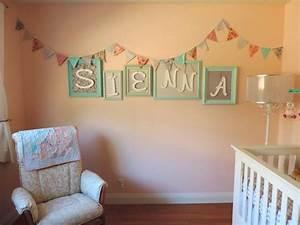 our baby sienna39s diy nursery wall decor frames With nursery decor name letters