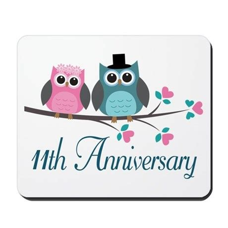 11 year wedding anniversary 11th anniversary wedding gift mousepad by anniversarytshirts2
