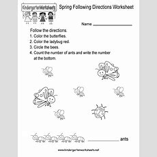 Spring Following Directions Worksheet  Free Kindergarten Seasonal Worksheet For Kids