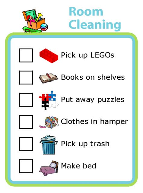 cleaning checklists  pictures  kids  trip clip