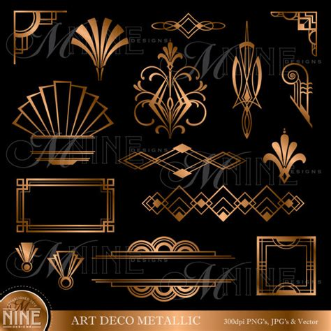 bronze deco accents clipart design elements instant