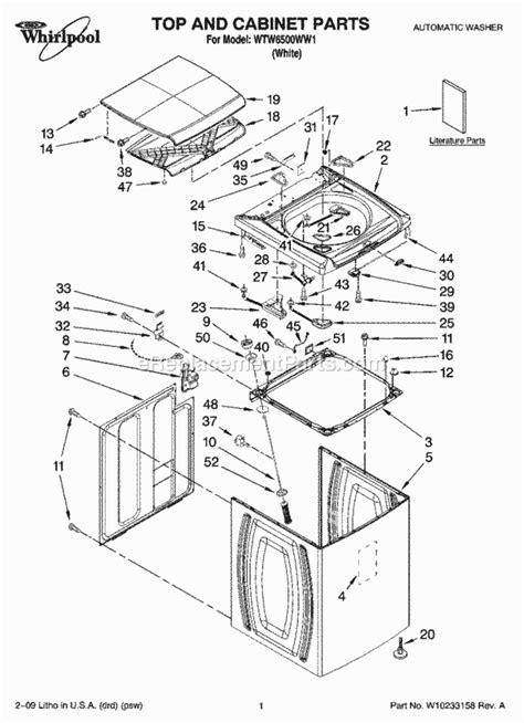 whirlpool wtwww parts list  diagram