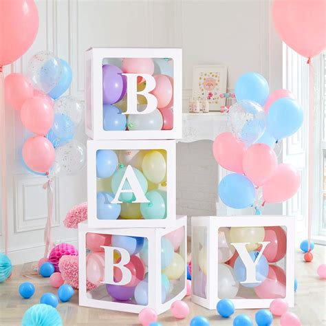 Maybe you would like to learn more about one of these? 4Pack Letter BABY/LOVE Cube Transparent Gift Ballons Boxes ...