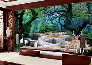 Custom photo 3d room wallpaper mural Forest waterfall elk ...