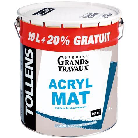 peinture acrylique blanche peinture acrylique mat 10l 20 tollens peinture blanche mur plafond peinture int 233 rieur