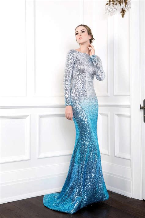 sequin mermaid gown  draped cowl  light blue