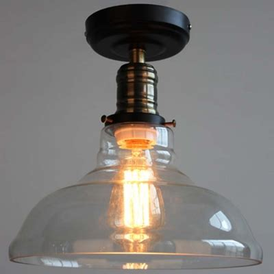 semi flush kitchen lighting fixtures bronze black 1 light led semi flush mount in clear glass 7896