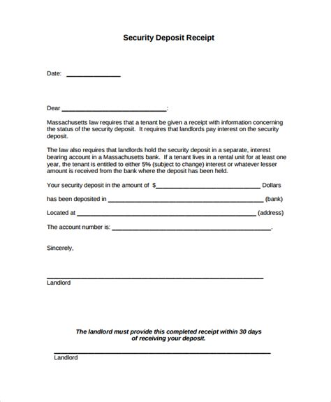 sle security deposit receipt 8 free documents
