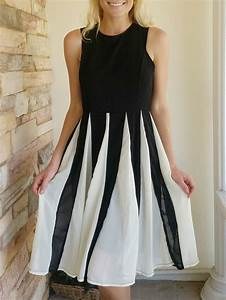 chic jewel neck mesh splicing sleeveless color block dress With robe pour personne agée
