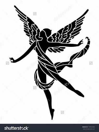 Goddess Deco Clipart Illustration Winged Retro Vector