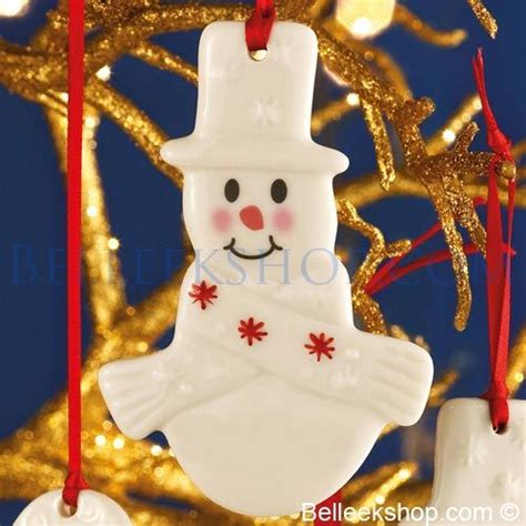 belleek christmas plain snowman decoration christmas