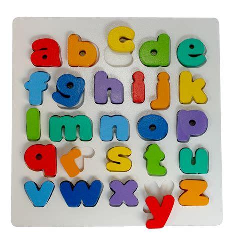 puzzle mancing puzzle chunky alphabet huruf kecil mainan kayu