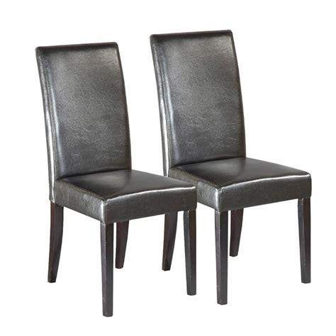 chaise bois et simili cuir lot de 2 chaises city bois massif simili cuir achat