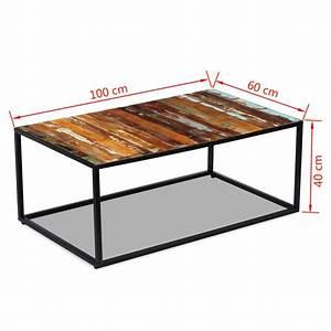 Glasplatte 100 X 40 : acheter vidaxl table basse bois de r cup ration massif 100 x 60 x 40 cm pas cher ~ Bigdaddyawards.com Haus und Dekorationen