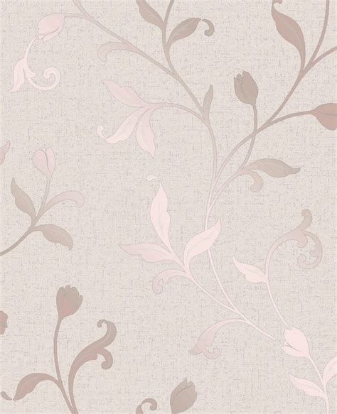 fine decor quartz floral rose gold  white wallpaper fd